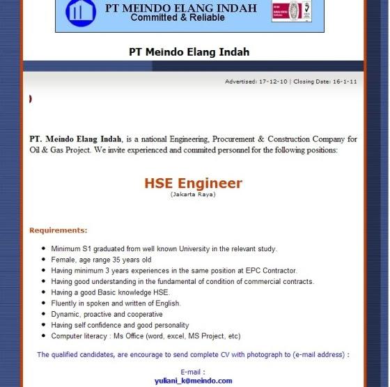 Lowker K3 – HSE Engineer PT Meindo Elang Indah (Jakarta