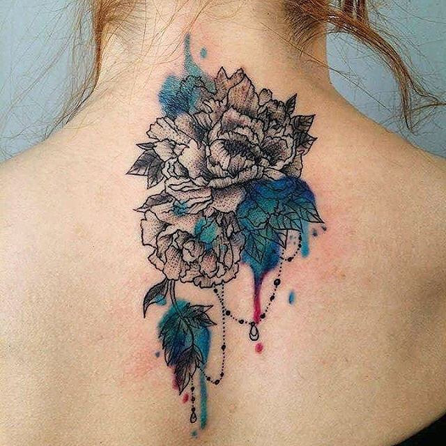 Back Neck Chrysanthemum Tattoo Best Tattoo Ideas Gallery