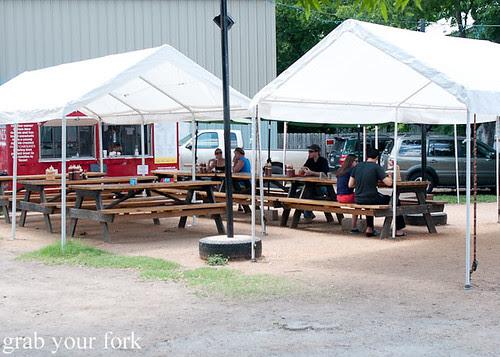 outdoor tables at la barbecue austin texas