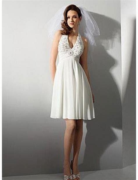 Free Shipping Halter Lace Short Chiffon Beach Wedding