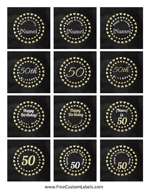 50th Birthday Cupcake Toppers   Free and Customizable