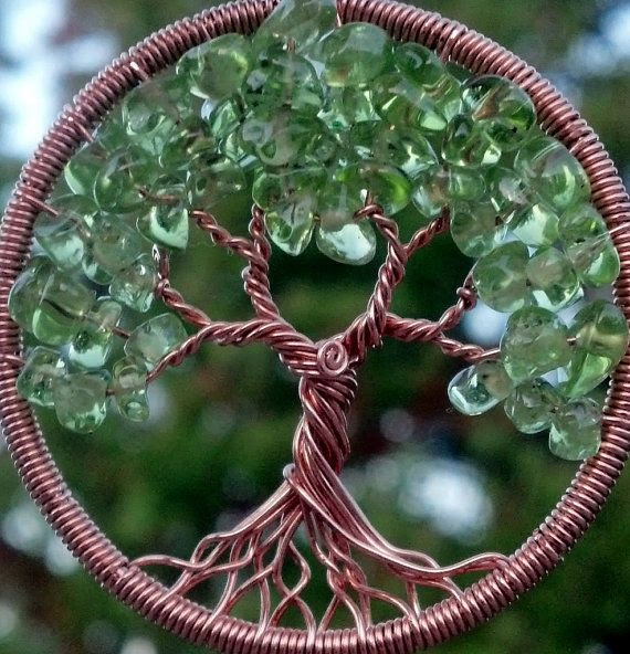 Copper and Peridot Tree of Life Pendant by ethora on Etsy, $75.00