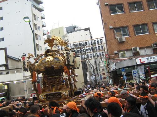 A mikoshi being carried at the Sanja Matsuri 2