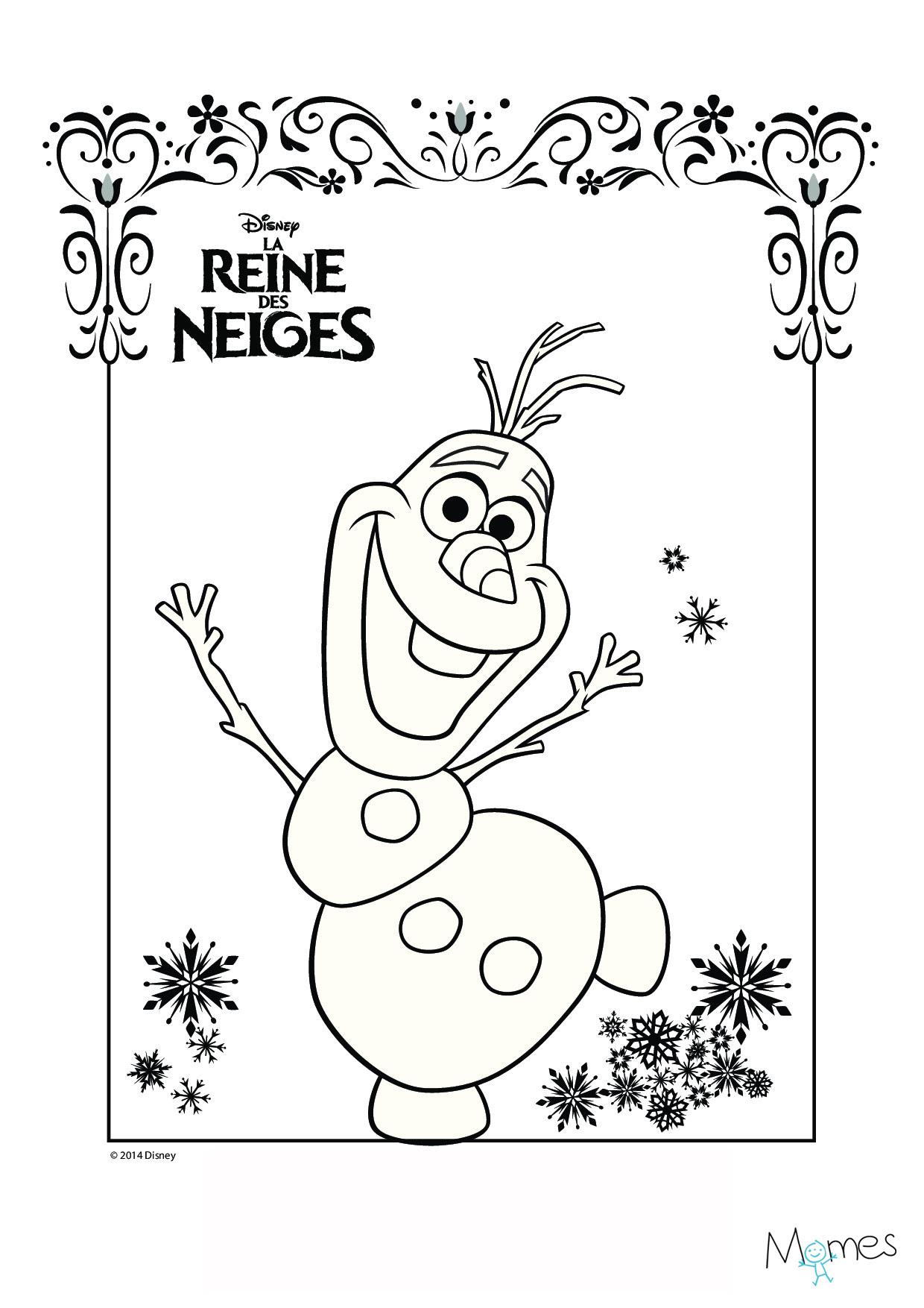 Coloriage Reine des Neiges Olaf Imprimer
