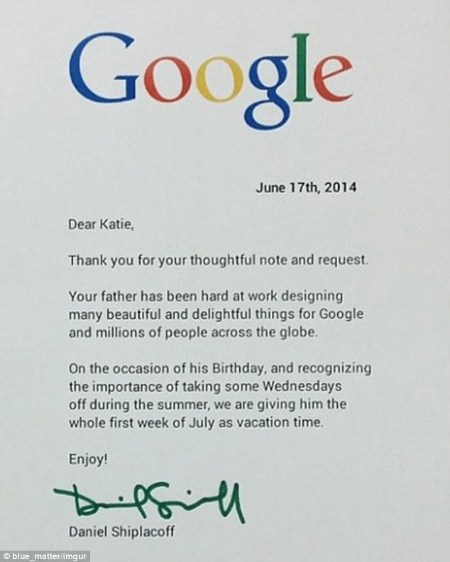 Generous offer: Google's Shiplacoff reportedly wrote back to the little girl and granted her dad one week off in July