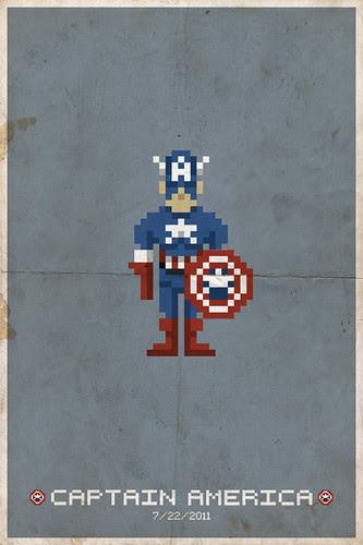 Captain America Pixel Poster - blue bg