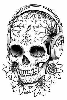 kleurplaten sugar skull skulls kleurplaten