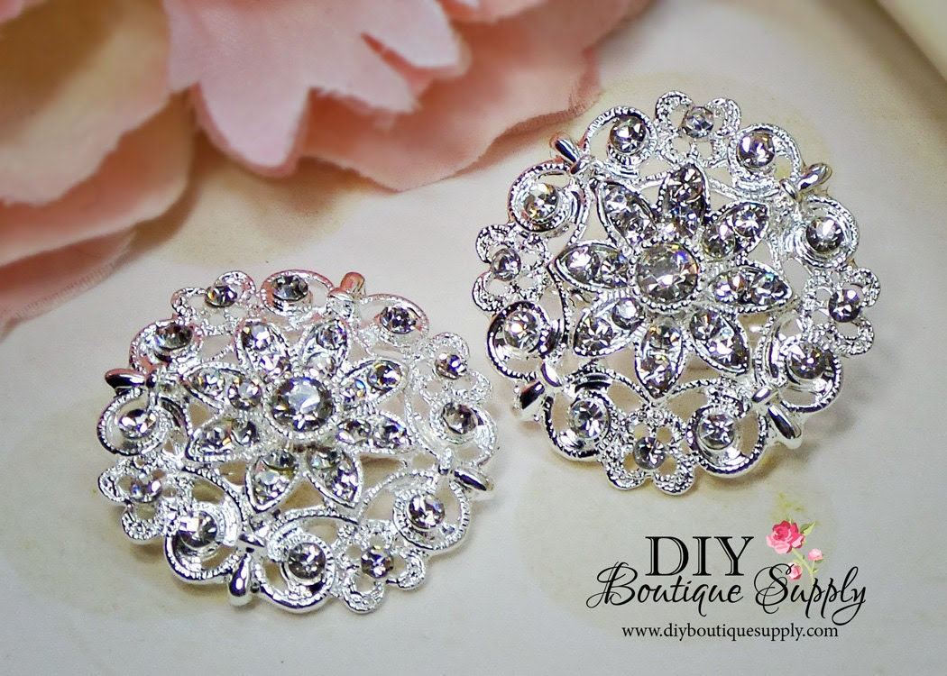 2 pcs Crystal Rhinestone Brooch Embellishment for Brooch Bouquet pins Crystal Wedding Supply Bridal sash pins shoe clips 35mm 620092