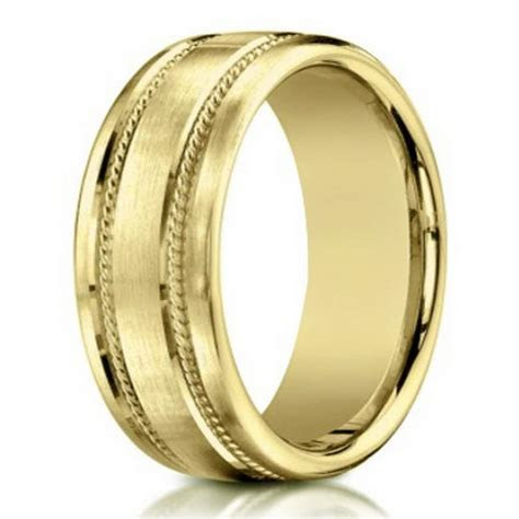 7.5mm Men's 18k Yellow Gold Designer Wedding Band with