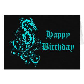 Dragon 20 cyan greeting card