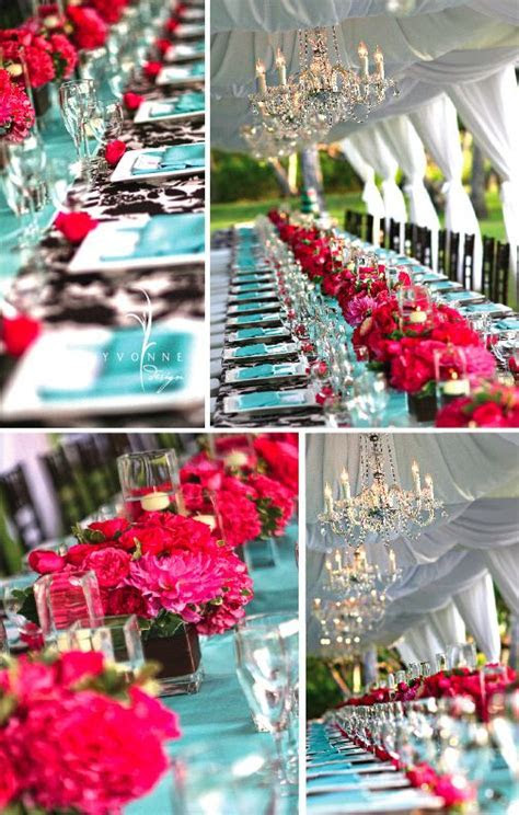 Bold colors   wedding reception   Tiffany blue & hot pink