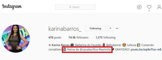 Karina Barros cita noivado com Camila Benfica (Foto: Reprodução/Instagram)
