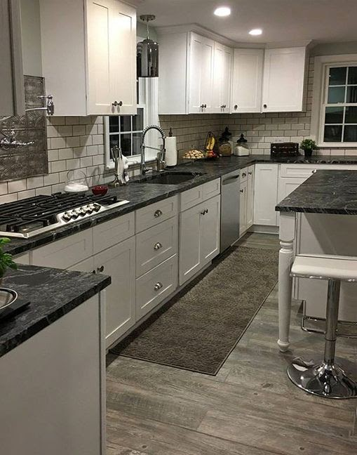 Beautiful Black Granite Countertops White Kitchen Cabinets pictures