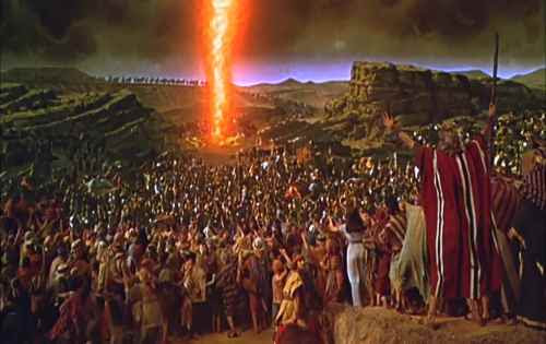 Scene from the 1956 movie The Ten Commandments.