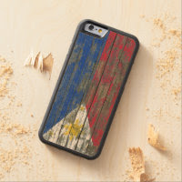 Filipino Flag on Rough Wood Boards Effect Carved® Maple iPhone 6 Bumper Case