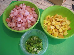pork cubes, egg cubes, scallions