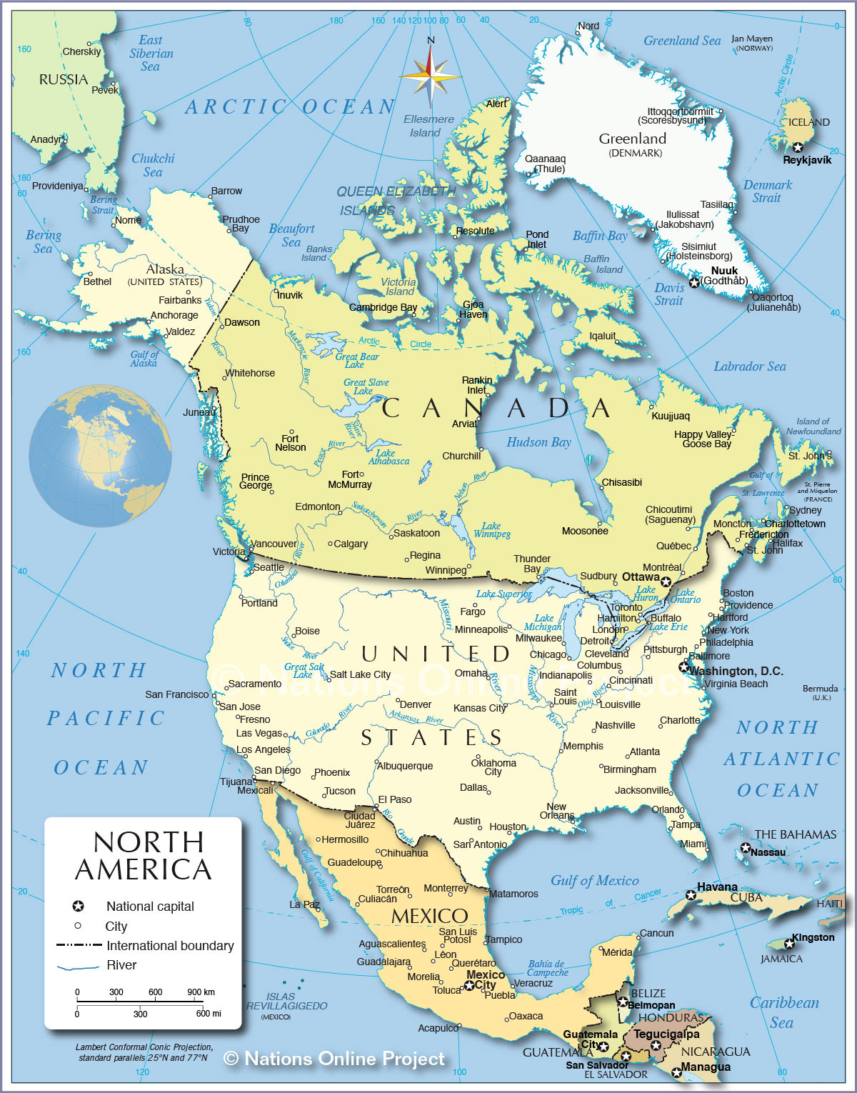 Political Map Of North America 1200 Px Nations Online