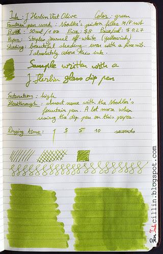 J Herbin Vert Olive ink review on Staples journal