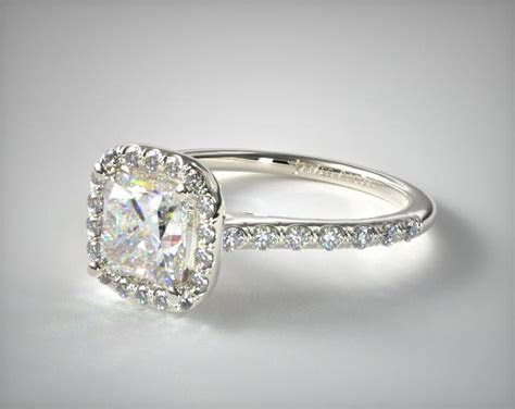 17309W   Pave Halo and Shank Diamond Engagement Ring