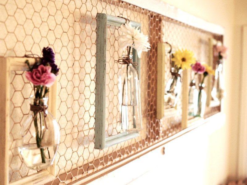 çiçek-tel örgü-çerçeve-frame-şişe-vazo-tablo