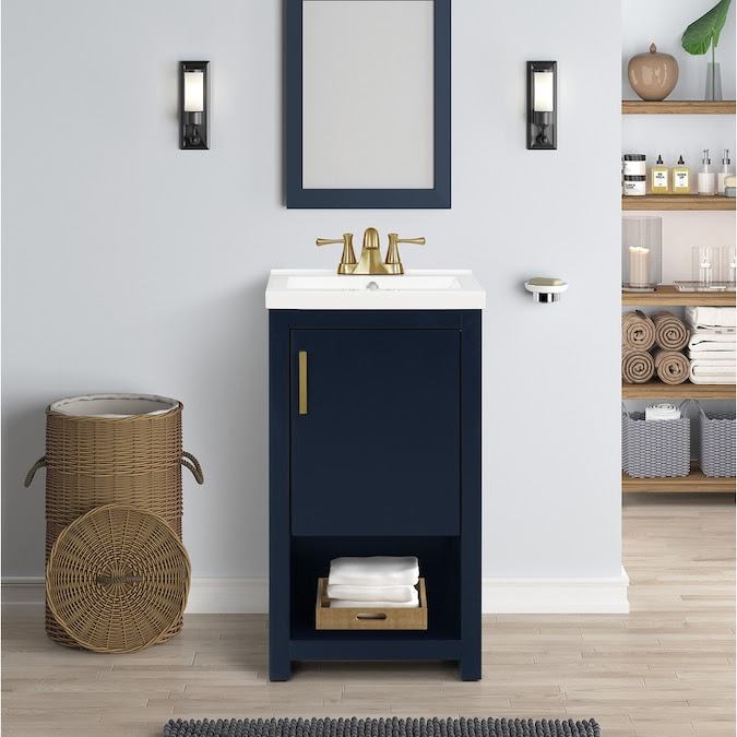 Style Selections Del Rose 18 In Navy Blue Single Sink Bathroom Vanity With White Engineered Stone Top In The Bathroom Vanities With Tops Department At Lowes Com