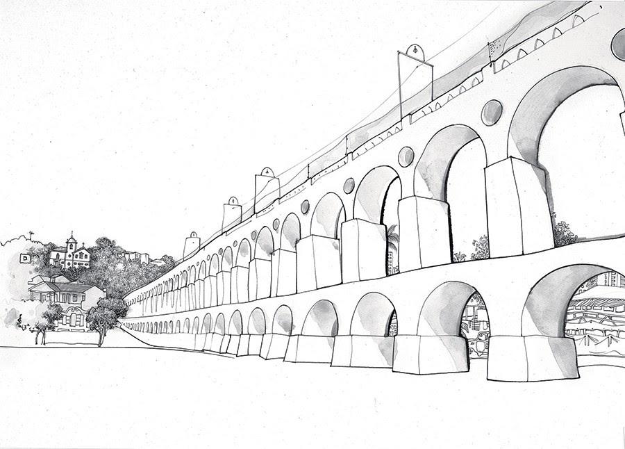 ROMA É AQUI Os Arcos da Lapa e o Convento de Santa Teresa, no alto do morro. Um aqueduto no coração de uma metrópole tropical (Foto: ilustração: Cássio Loredano)