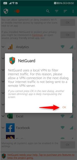 NetGuard usa una VPN local para filtrar el tráfico