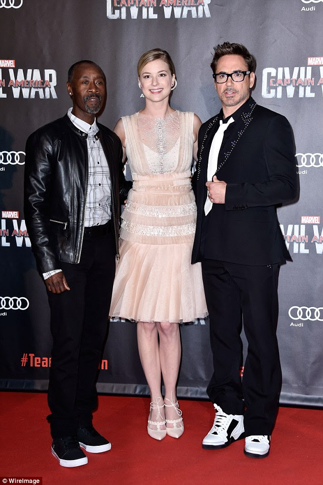 A rose between...Emily VanCamp ensured she looked simply Marvelous as she joined her co-stars Robert Downey Jr. (right) and Don Cheadle (left) at the Paris premiere of Captain America: Civil War on Monday