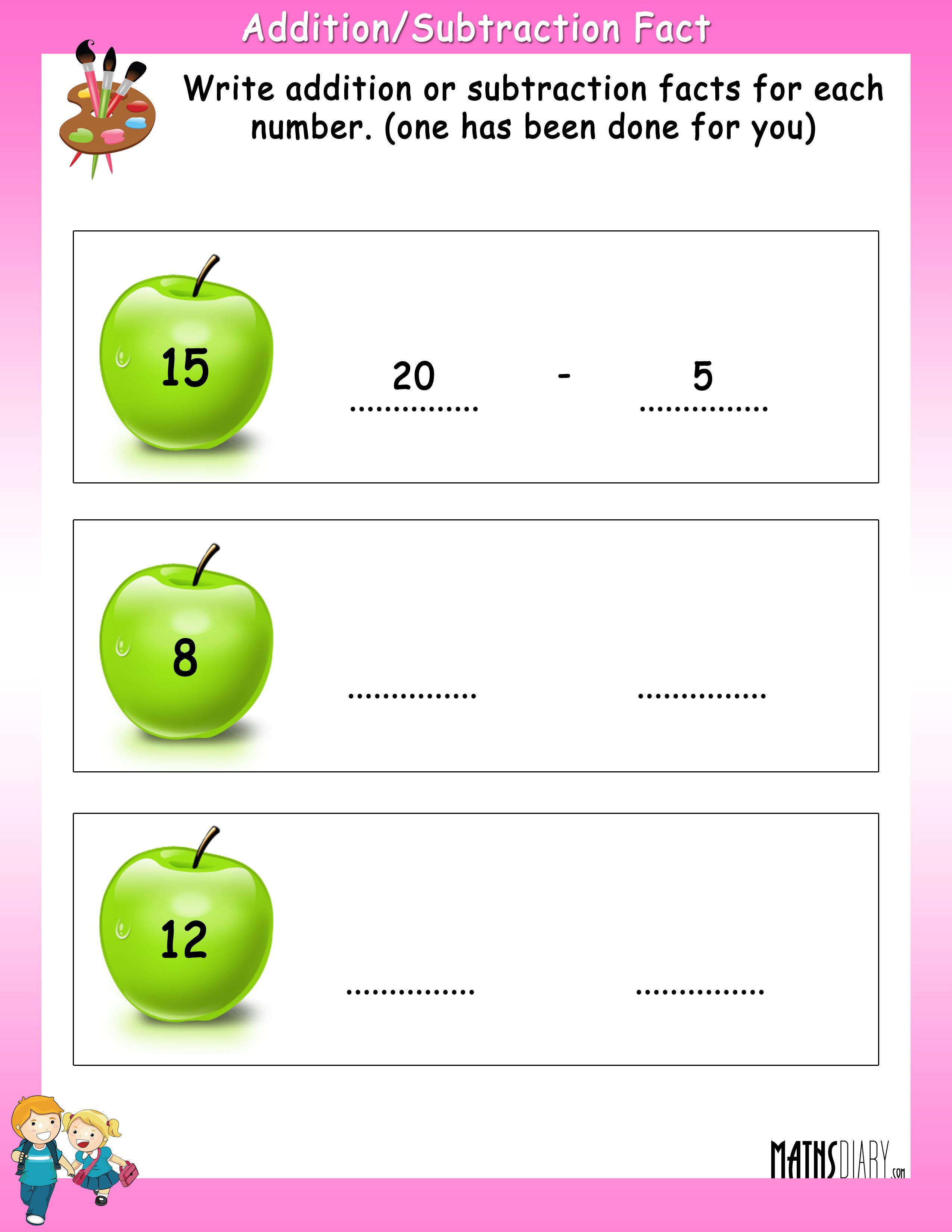 addition Subtraction fact worksheet 1