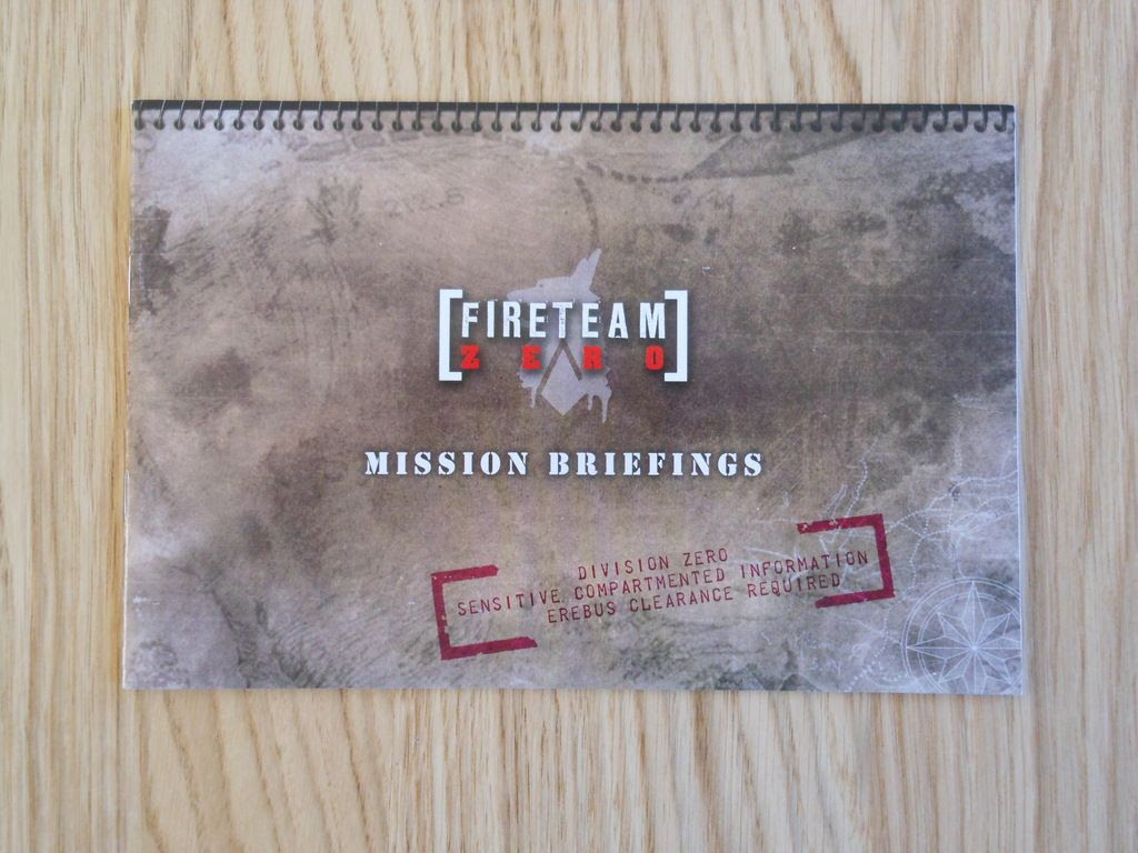 Front cover of the Fireteam Zero mission briefing book, made to look like a spiral-bound notebook.