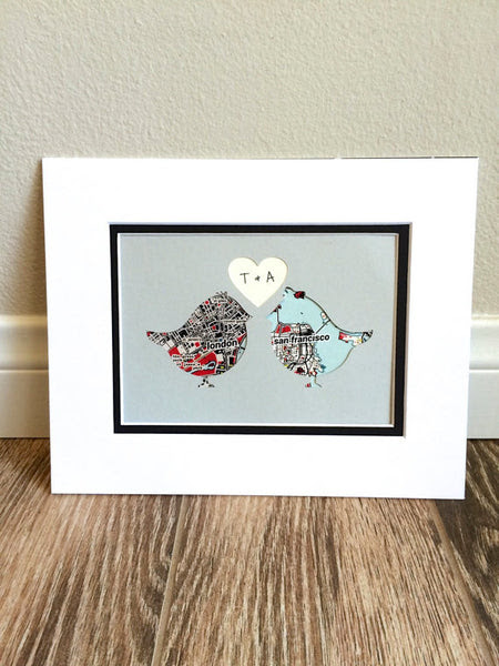 Love Birds Art Map Art One Year 1st Anniversary Long Distance