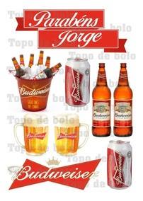 Topo De Bolo Cerveja Budweiser Para Imprimir Compartilhar Bolo