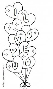 Printable valentine heart balloons coloring pages ...