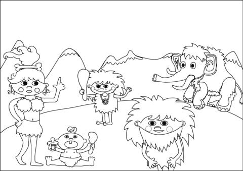 Dibujo De Familia De La Prehistoria Para Colorear Dibujos Para