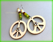 RESERVED Earth Tone Wooden Peace Dangle Earrings