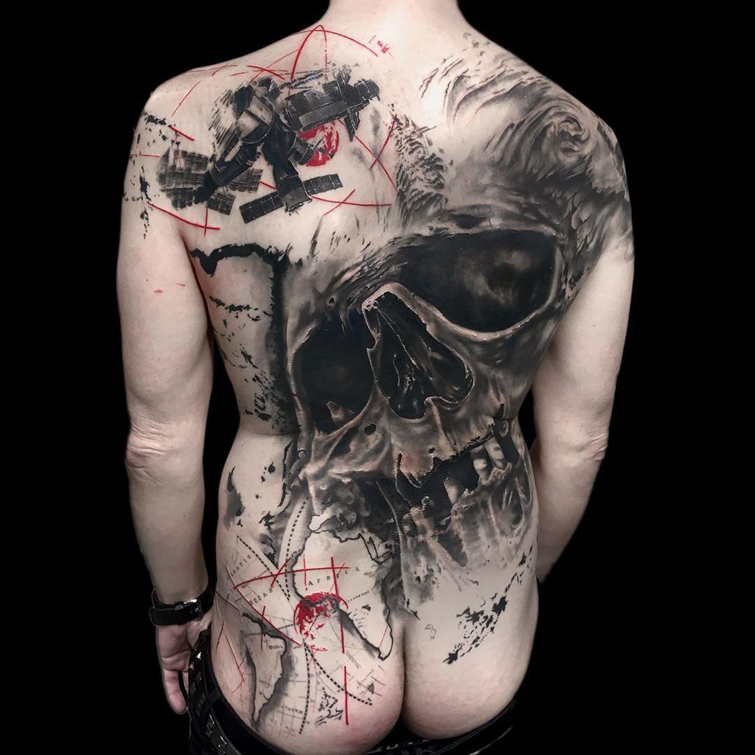 Skull Back Tattoo Best Tattoo Ideas Gallery