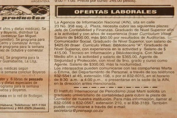 Ofertas laborales en la prensa (foto del autor)