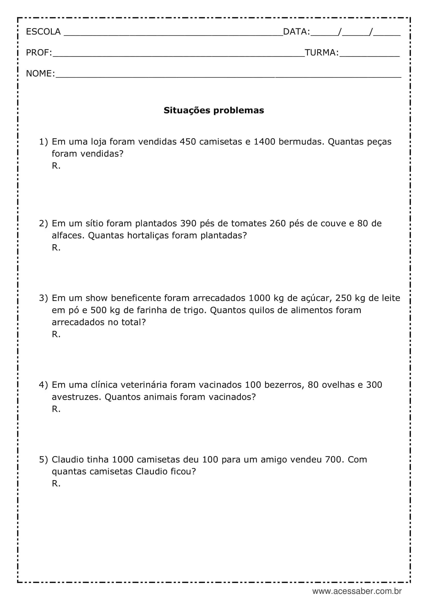 Atividade De Matematica Situacoes Problemas 3º Ano Acessaber