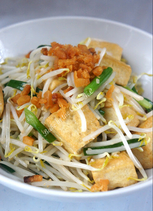 Stir fried beansprouts with tofu and salted fish