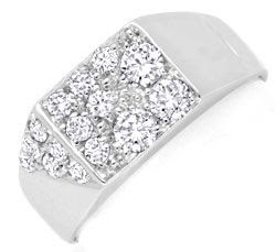 Foto 1, BRILLANT-DIAMANT-RING WEISSGOLD 15 DIAMANTEN LUXUS! NEU, S6924