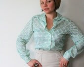 White Blouse with Mint Green Geometric Pattern - showsomemoxie