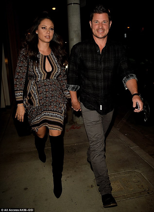 Just the two of us: Vanessa and Nick Lachey grabbed a bite to eat in West Hollywood, California, on Wednesday night