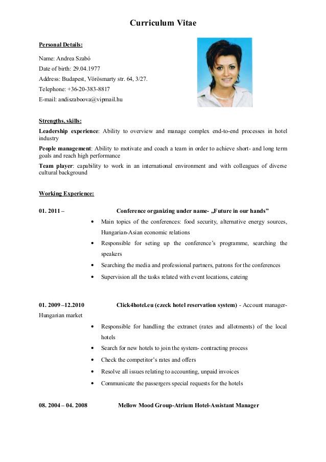 Resume Template: CV ENGLISH