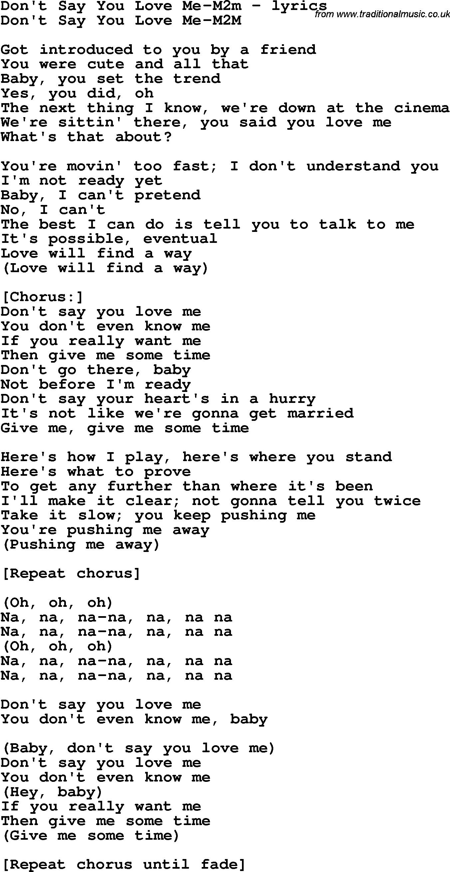 Love Song Lyrics Fordont Say You Love Me M2m