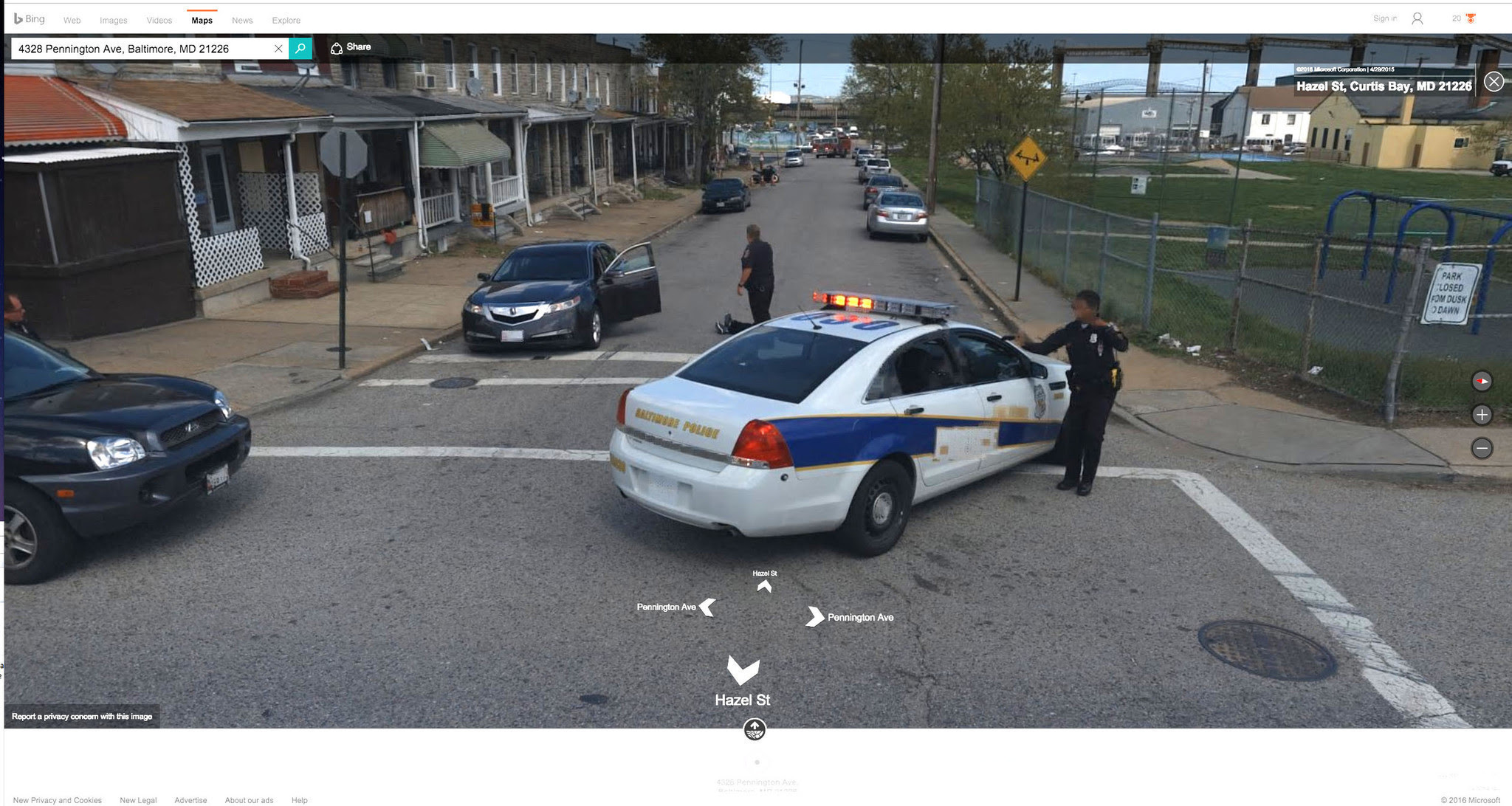 Bing Streetside Edits Images Showing Baltimore Homicide