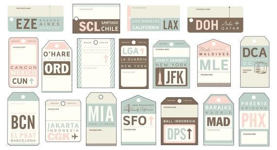 Vintage Luggage Tag Travel Escort Cards