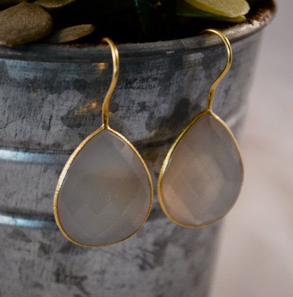 Grey Moonstone Tear Drop Earrings by HummingBirdAndRose on Etsy, $62.00