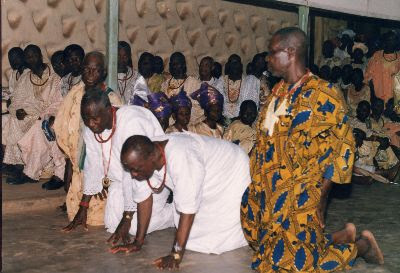 Oba-Ala on arrival at the Owa of ilesa palace