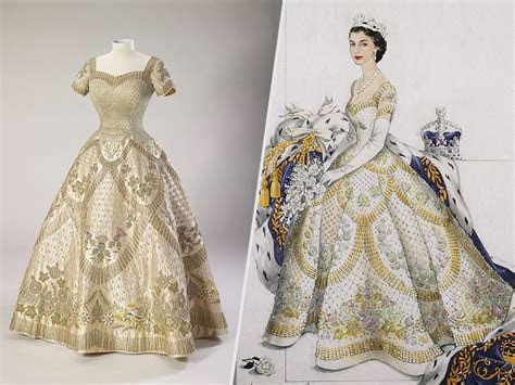 Queen Elizabeth's Wedding and Coronation Dresses Display