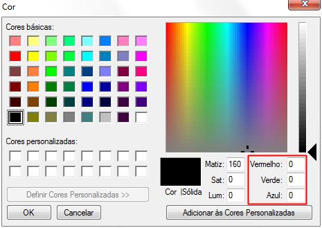 cores RGB e hexadecimais